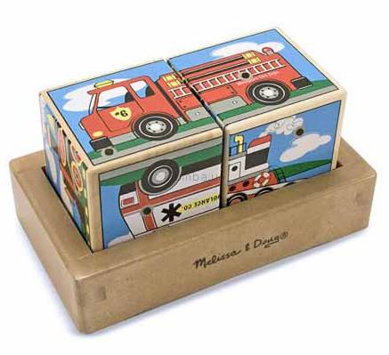 Детская игрушка Melissa&Doug Звуковые кубики Машинки