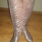 стильнючие розово-серые сапоги еврозима кожа с блеском 37р.