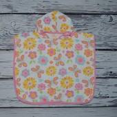 Фирменное Детское полотенце пончо Цветы с капюшоном