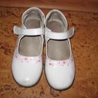 туфли весенние для девочки лаковые белого цвета 21см