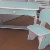 Столик и стульчик с регулировкой высоты мята/белый. Николаев.Кредит