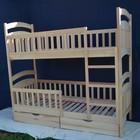 Двухъярусная детская кровать Карина Люкс из бука, 2ящ, 4 бортика.