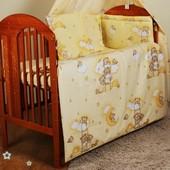 Комплект постели в кроватку новорожденного- Мишки на луне