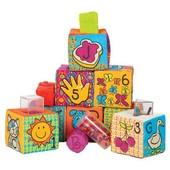 Развивающие мягкие кубики-сортеры - ABC (6 кубиков, в сумочке) Battat