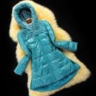 Кожаное пальто - пуховик подиумный