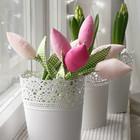Букет  тюльпанов из ткани в ажурном кашпо