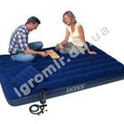 Набор Надувной матрас флокированный Intex Downy Royal 68765 203*152*22 см+ ручной насос и 2 подушки