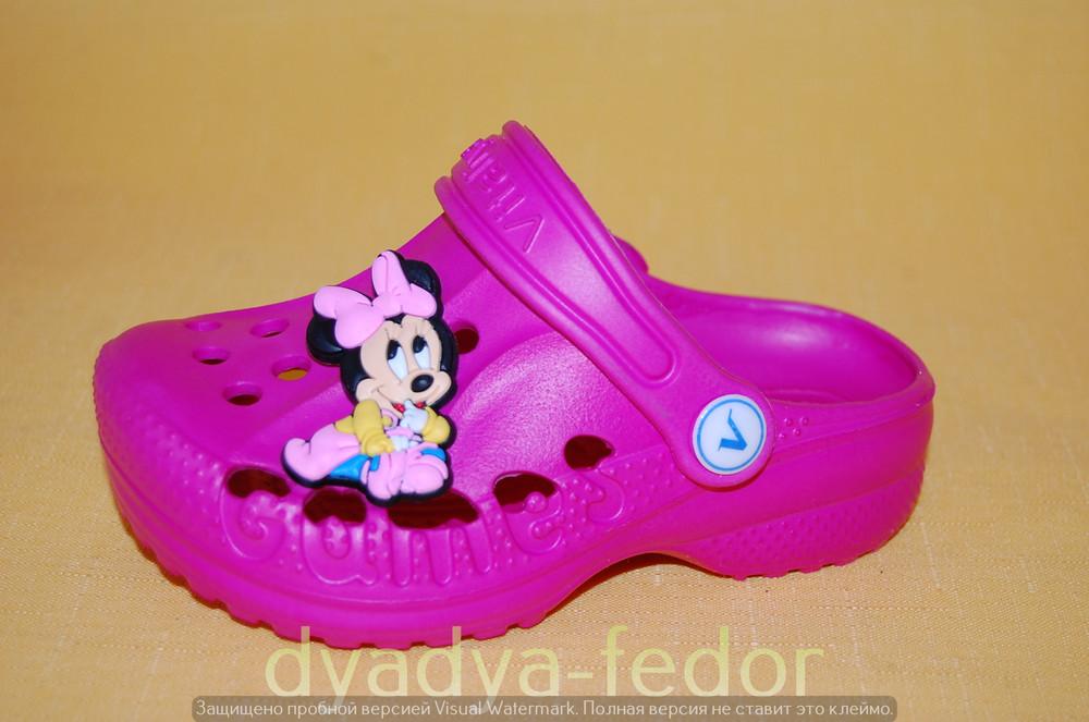 Детские кроксы для девочек код 11004 размер 22-33 малиновые фото №1