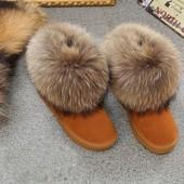 кожаные женские угги ЛИСА мех (ugg australia) натуральные-валенки сапоги зимние дутики сникерсы