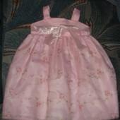 Платье сарафан розовое нарядное 2Т 1,5-2года 74-86 рост есть нюансы