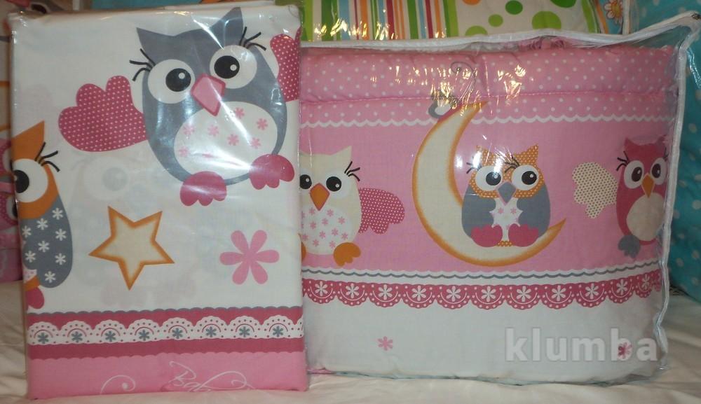 Защита для детской кроватки защитное ограждение в детскую кроватку из 2 частей- совушки фото №1