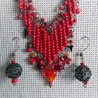 Намисто і сережки «Червоні коралі» (бусы, серьги)
