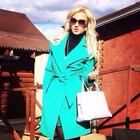 Кашемировое бирюзовое пальто