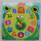 Деревянная игрушка Часы - лягушка вклад пазл и цифры и часики