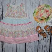 1 - 2 года 86 - 92 см Обалденное фирменное нарядное очень пышное платье сарафан цветочки