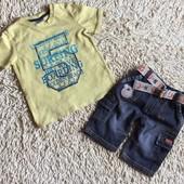 Комплект из футболочки и джинсовых шортиков с поясом на 12 мес