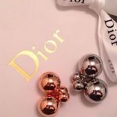 Серьги сережки  пусеты Диор Dior матовые глянцевые