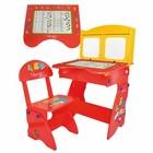 Парта и стульчик для детей W 077 с мольбертом и шкафчиками