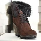 Зимние ботинки на танкетке.Натуральный замш,кожа.