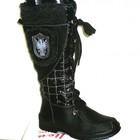 Чёрные женские дутики со шнуровкой