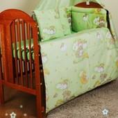 Комплект в кроватку новорожденного из 6 предметов- без балдахина и кармана в кроватку.
