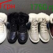 зимние и осенние  ботинки сникерсы Gucci с мехом кролика.Супер качество! Под заказ.