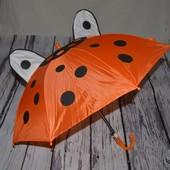Зонтик зонт трость детский с ушками со свистком разные оранджевый