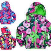 Демисезонная куртка для девочек на флисе 98-122 рост