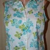 Натуральная лёгкая блуза в цветы, р.48-50