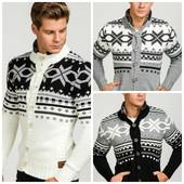 Зимний мужской реглан ,теплий мужской свитер со снежинками