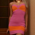 Бандажное яркое платье-бюстье Lipsy, 8 размер