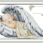Набор вышивки вышивания оберег метрика крылья ангела младенец