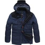 Мужская зимняя стеганная куртка пуховик в стиле парка (холлофайбер)