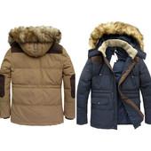 Мужская зимняя стеганная куртка пуховик натуральный пух