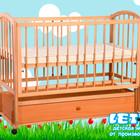 """Кроватка детская """"Малютка с продольным маятником + закрытый ящик"""" (опускающийся бок)"""