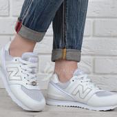 Кроссовки кожаные New Balance женские весна лето белые Нью Беланс лучшая цена