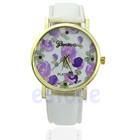 """Часы Geneva с принтом """"пурпурная роза"""", белые"""