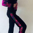 Велюровый костюм с платочными вставками