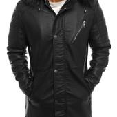 Мужская зимняя  куртка парка дубленка кожаная(PU)