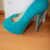 туфли голубые с открытым носком, р. 38, новые