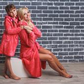 Детский махровый халат на запах 01321 (4 цвета)