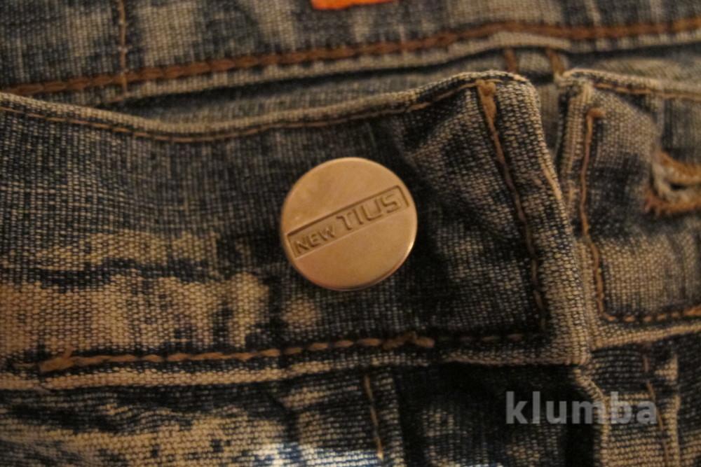 Голубые джинсы с выбеленностью new tius 30 р. фото №4