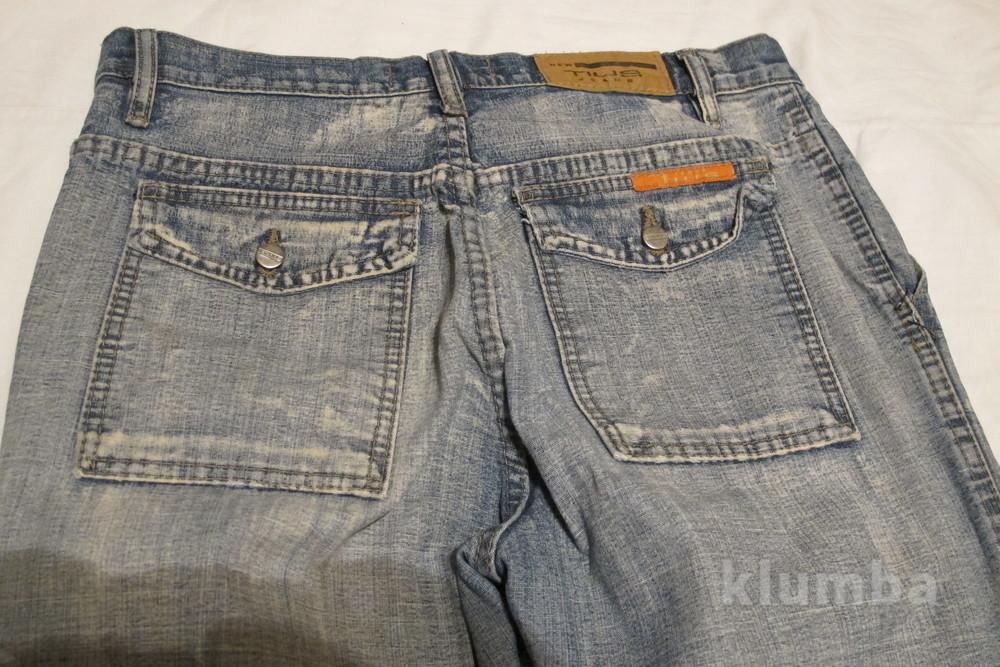 Голубые джинсы с выбеленностью new tius 30 р. фото №7