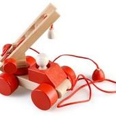 Деревянная игрушка-каталка: Пожарная машинка, Водовоз, Автокран, Грузовик, Самосвал