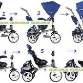 Велосипед-коляска 6 в 1 Modi Crosser синий (T 500 (al) Blue) надувные колеса, фара