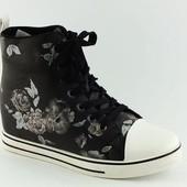 Ботиночки сникерсы черные розы Д364 р.39