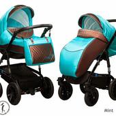 New! Универсальная коляска 2 в 1 Ajax Group Viola Mint, коричневый с бирюзовым