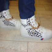 Ботиночки сникерсы белые леопард Д363