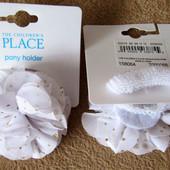 Резинки-пушистики для волос розовые и белые с золотистыми пятнами из США