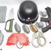 Военный набор, 0055-J42, сетка 48*29см,автомат,каска,наручники, аксессуары